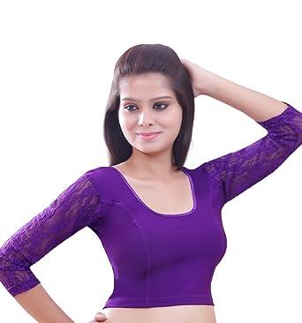 67a67a531687cd Amazon.com  Purple Long Sleeve Ready-made Lycra Stretchable Saree Blouse  Sari Choli Crop Top - L  Clothing