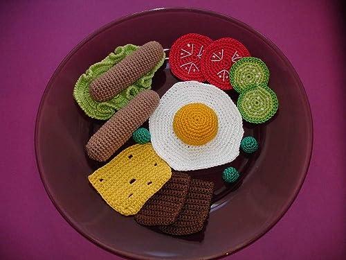Crochet Breakfast Pattern - Bacon, Eggs, and Waffles • Green Fox ... | 375x500