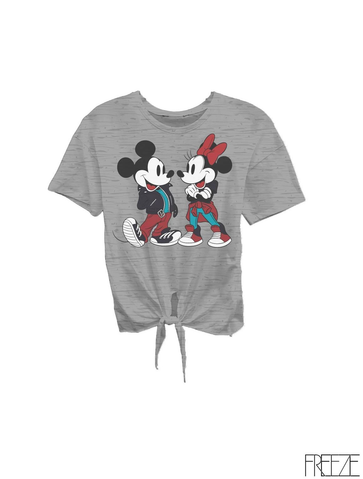 Freeze Tie Front Jersey Fashion Graphic T-Shirt for Women- Cool and Comfy, Rounded Neckline, Short Sleeves Styled with a Flirty Tie-Front Hem, Finished with a Perfect Length, Available in All Sizes Grey Heather Medium