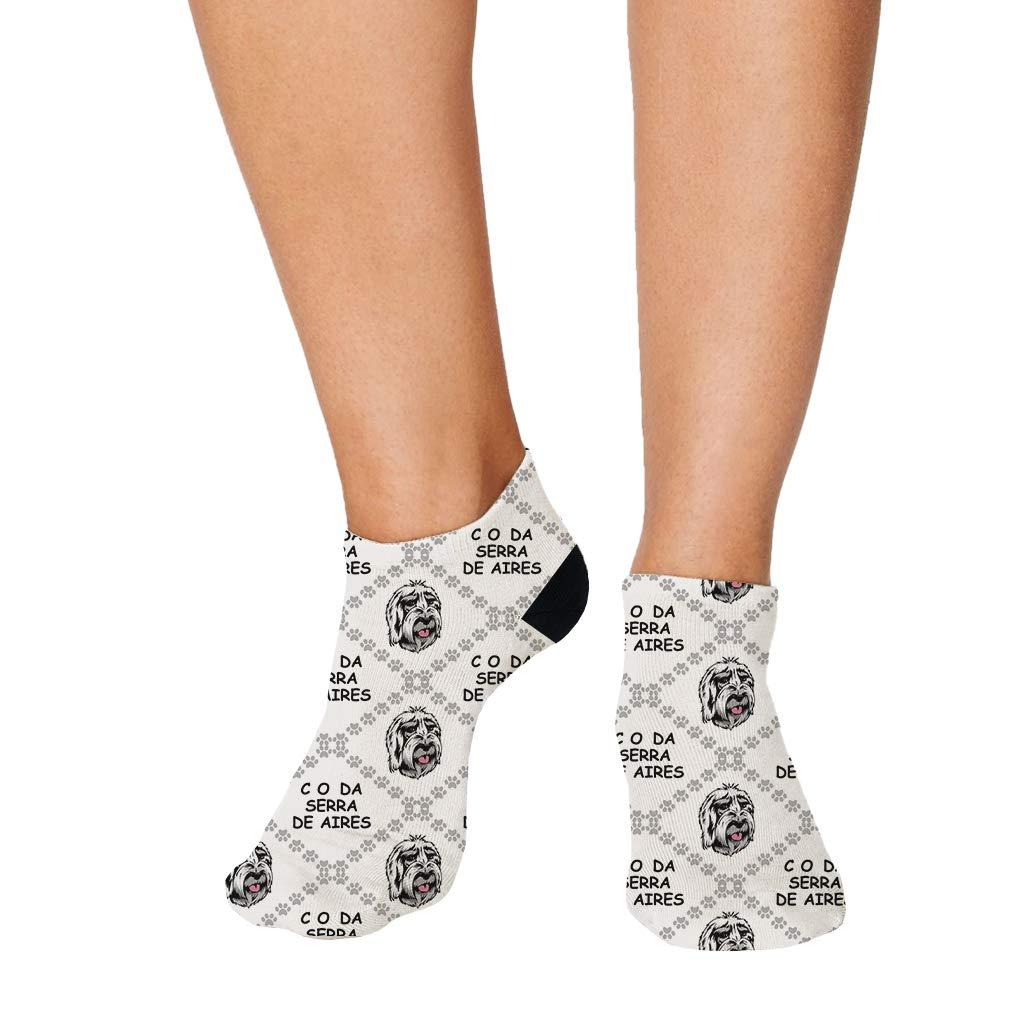 Cao Da Serra De Aires Dog Paws Pattern Men-Women Adult Ankle Socks