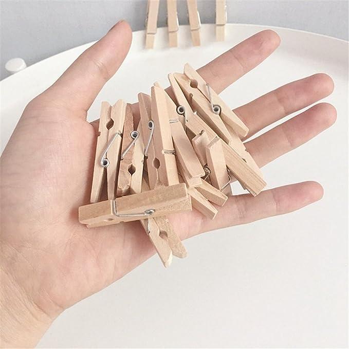 Toruiwa 50x Pince /à Ligne en Bois Mini Epingle /à Linge Clips avec Ficelle pour DIY Photo D/écoration de Maison
