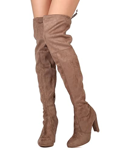 6b029be999f Wild Diva Women Faux Suede Thigh High Drawstring Chunky Heel Boot GJ96 -  Taupe (Size