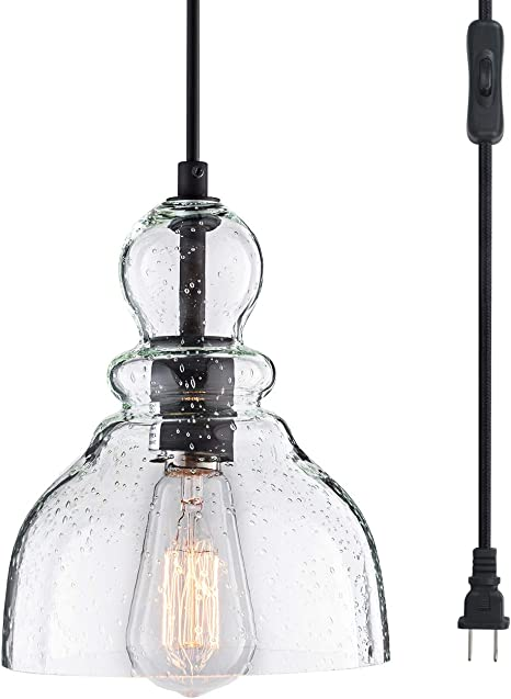 Amazon Com Lanros Swag Lights With 15 7 Ft Plug In Cord And On Off Switch Handblown Clear Seeded Glass Shade Pendant Light For Bedroom Study Kitchen Sink Livingroom Black 7inch 1 Pack Home Improvement
