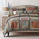 Dada Bedding Collection Reversible Bohemian Real Patchwork Gallery of Roses Cotton Quilt Bedspread Set, Multi-Colored, Cal King, 3-Pieces