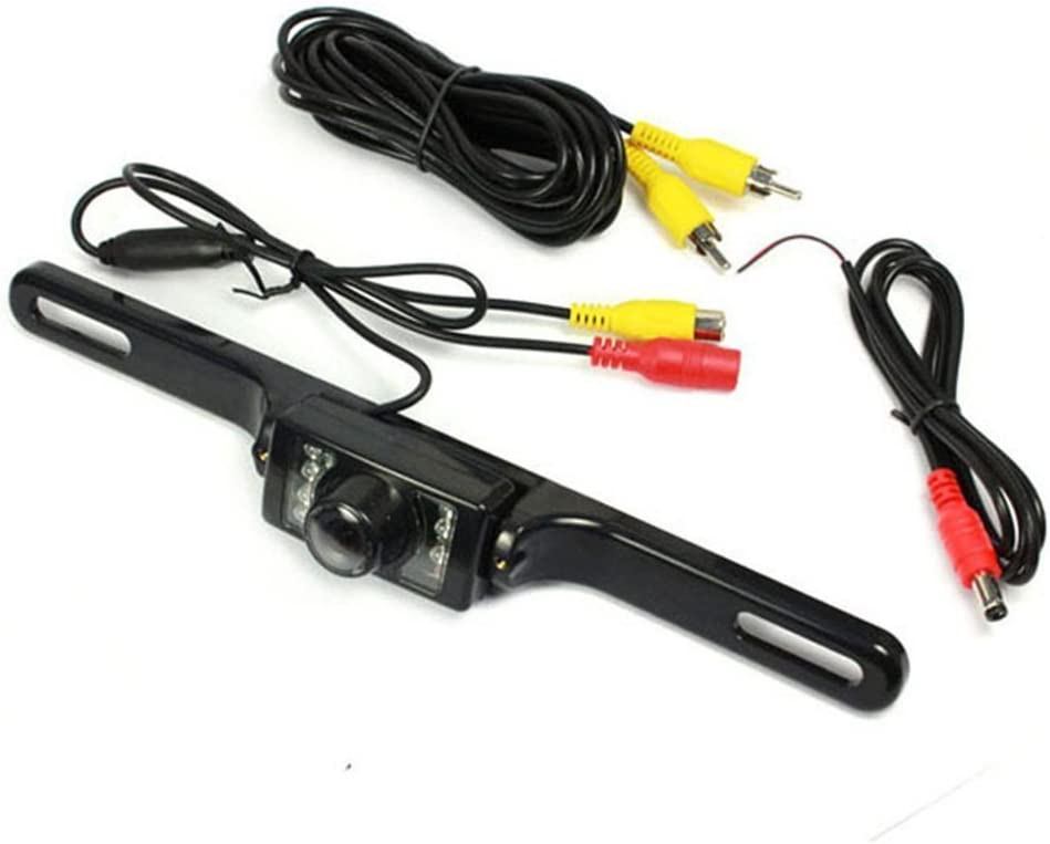 hizpo Car Rear View Camera High Definition Color Wide Viewing Angle Universal Waterproof Car Rear View License Plate Backup Camera with 7 Infrared Night Vision LED for Car DVD Player