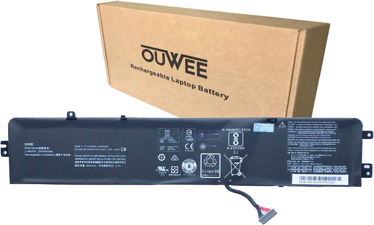 OUWEE L14M3P24 Laptop Battery Compatible with Lenovo Legion Y520-15IKBA Y520-15IKBM Y520-15IKBN IdeaPad Y700-14ISK 700-15ISK 700-17ISK Series Notebook L16M3P24 L16S3P24 L14S3P24 11.1V 45Wh 4050mAh