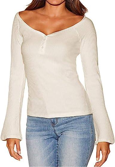 LuckES Blusa Delgada con Cuello en V para Mujer, Elegantes túnicas Camisa de Manga Larga Casual Mujer Camiseta Blusas elásticas Delgadas: Amazon.es: Ropa y accesorios