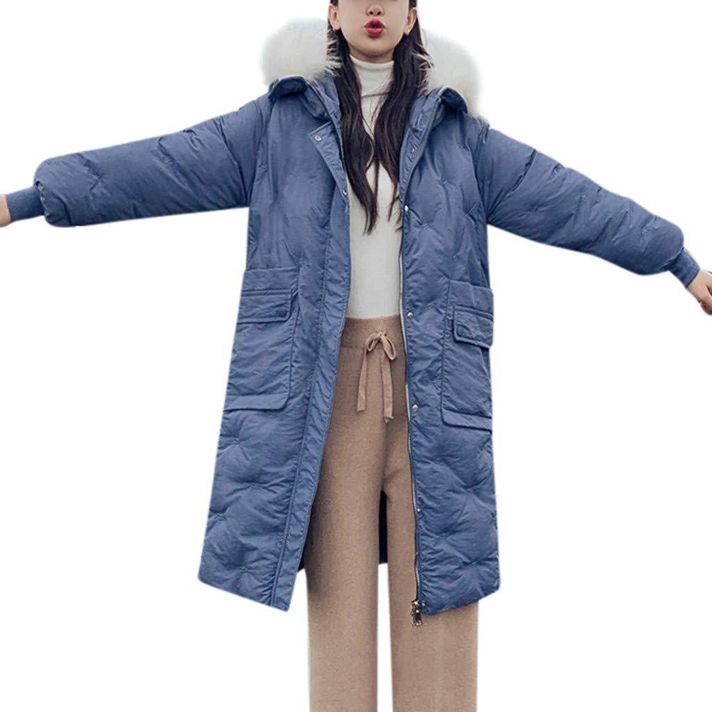 TANLANG Women Fashion Solid Color Long Zipper Fur Hooded Jacket Pocket Cotton Clothing Outerwear Warm Coat Tunics Blue