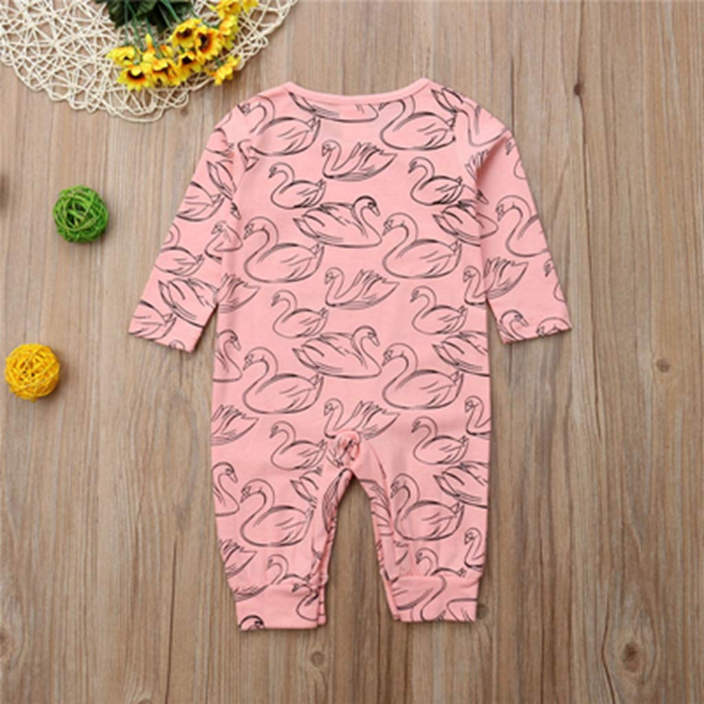 Multi,6M Newborn Baby Girls Clothes Cotton Print Autumn swan Romper O-Neck Long Sleeve Kids Toddler Jumpsuit one Pieces