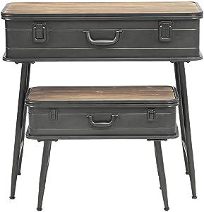 4D Concepts Urban Loft Metal Two Trunk Tables, Rustic Natural Pine