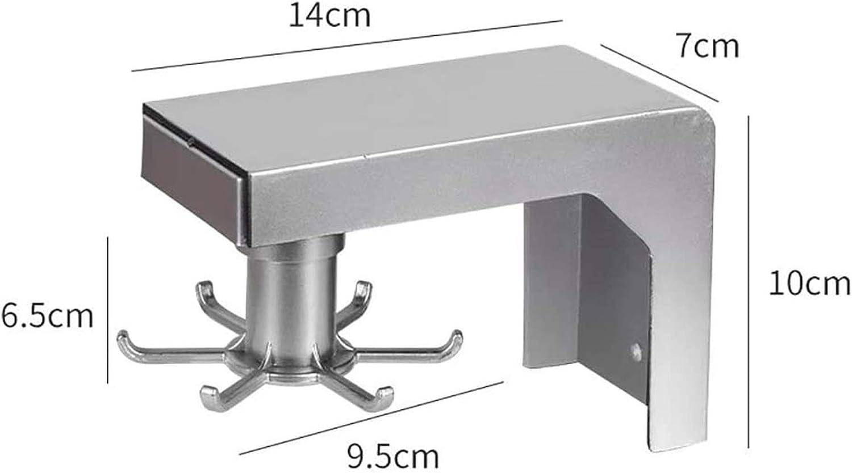 Usexl estante para utensilios de cocina montado en la pared organizador de barra de cocina 6 ganchos plateados. estante giratorio sin clavos colgador telesc/ópico