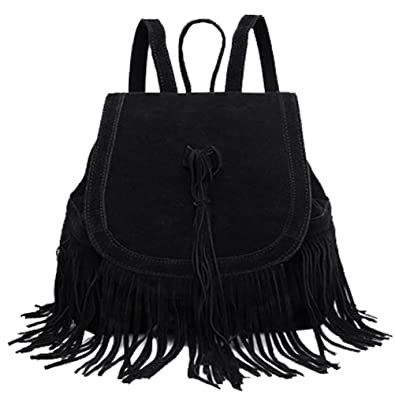 Donalworld Women Tassel Backpack Book Travel Drawstring PU Leather Bag Black e8b942b082