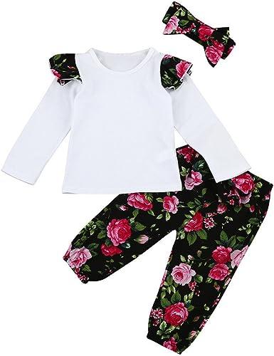 Pants Diadema Conjuntos de Tela Ropa para beb/és,Manga Larga de la ni/ña del beb/é reci/én Nacido Estampado Floral Tops