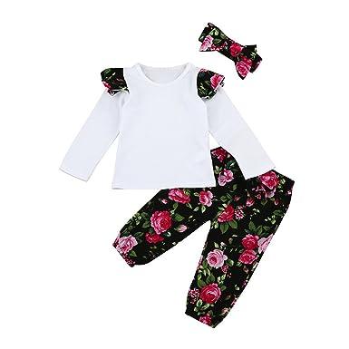 4c557fb2e4e78 3 Pcs Enfant Bébé Filles Long Manchon Floral Vêtements Ensemble Tops  Pantalon Bandeau Tenues Kangrunmy