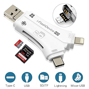 ETbotu 4 en 1 iPhone/Micro USB/USB Tipo-c/USB Lector de ...
