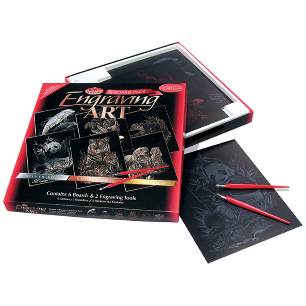ROYAL BRUSH Langnickel 8-Inch by 10-Inch Foil Engraving Art Kit Value Pack, Dolphins