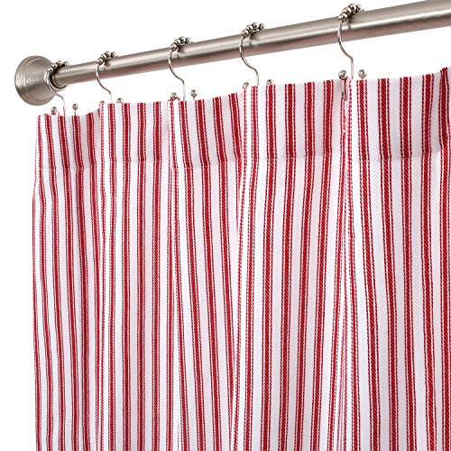 Cackleberry Home Red and White Ticking Stripe Woven Cotton Shower Curtain 72 Inches W x 72 Inches L (Red Shower)