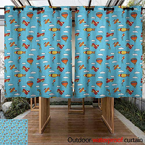 (AndyTours Grommet Outdoor Curtains,Airplane,Colorful Air Transportation Collection with Balloons Biplanes Zeppelins and Kites,for Porch&Beach&Patio,K160C160 Multicolor )