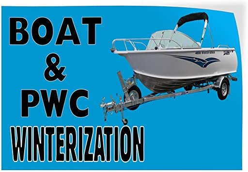 40inx26in Decal Sticker Multiple Sizes Boat /&PWC Winterization Business Business Boat PWC Winterization Outdoor Store Sign Black Set of 5