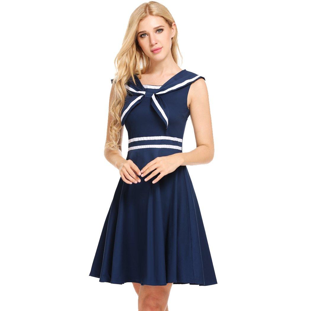 ACEVOG Women's Retro Sailor Dress A-Line Summer Sleeveless Casual Flare Midi Dress