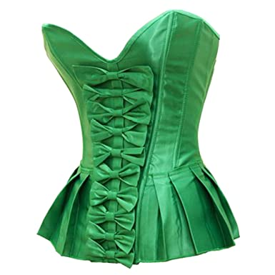 e2c0fc791ec5 Bslingerie Halloween Green Ruffle Lace Up Back Boned Corset Top at ...