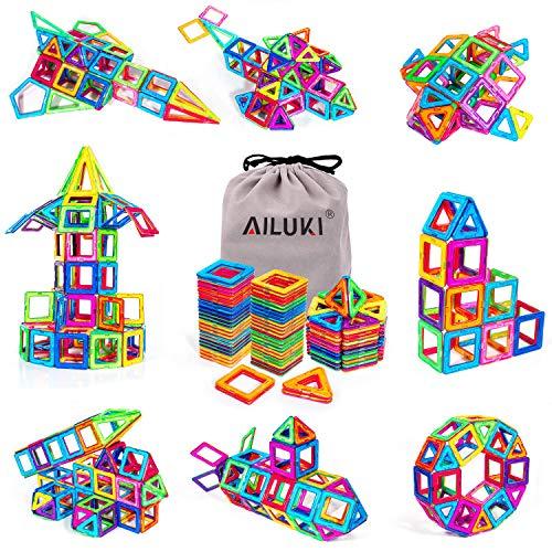 (AILUKI Magnetic Blocks, 109 Pcs 3D Magnetic Building Blocks Set Magnet Tiles Educational Construction Kit for Children Creative Imagination Development Magnet)