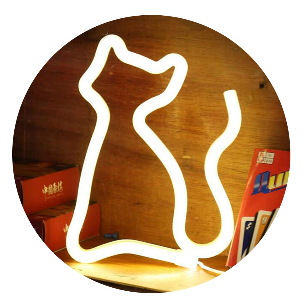 Neon Light,LED Cat Sign Shaped Decor Light,Wall Decor for Chistmas,Birthday Party,Kids Room, Living Room, Wedding Party Decor(warm white)