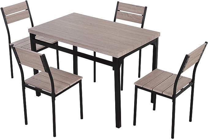 HOMCOM - Juego de Mesa y sillas de Comedor de Madera rústica (5 Piezas): Amazon.es: Juguetes y juegos