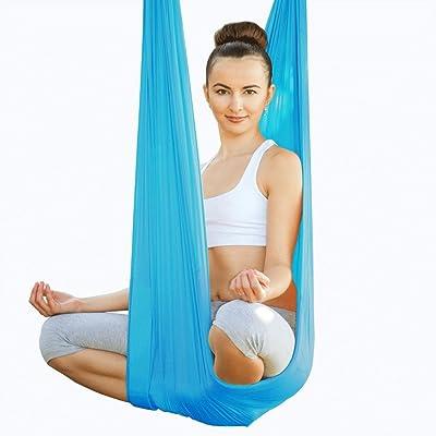 Alger Ceinture aérienne assistée par hamac d'oscillation de yoga d'anti-gravité, 500 * 280cm , blue
