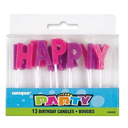 Unique Party Supplies Happy Birthday Kerzen Fur Geburtstagstorte Lila Und Rosa Buchstaben 13 Teilig Amazonde Spielzeug