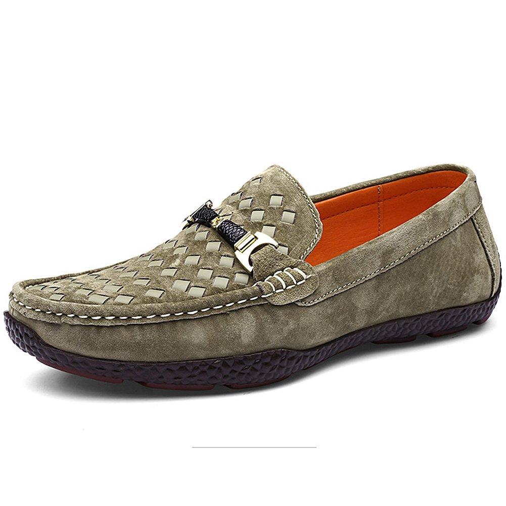 Shenn Hombre Plano Sin Cordones Clásico Vestido De Oficina Casual Boda Gamuza Cuero Mocasines Zapatos 40.5 EU|Caqui