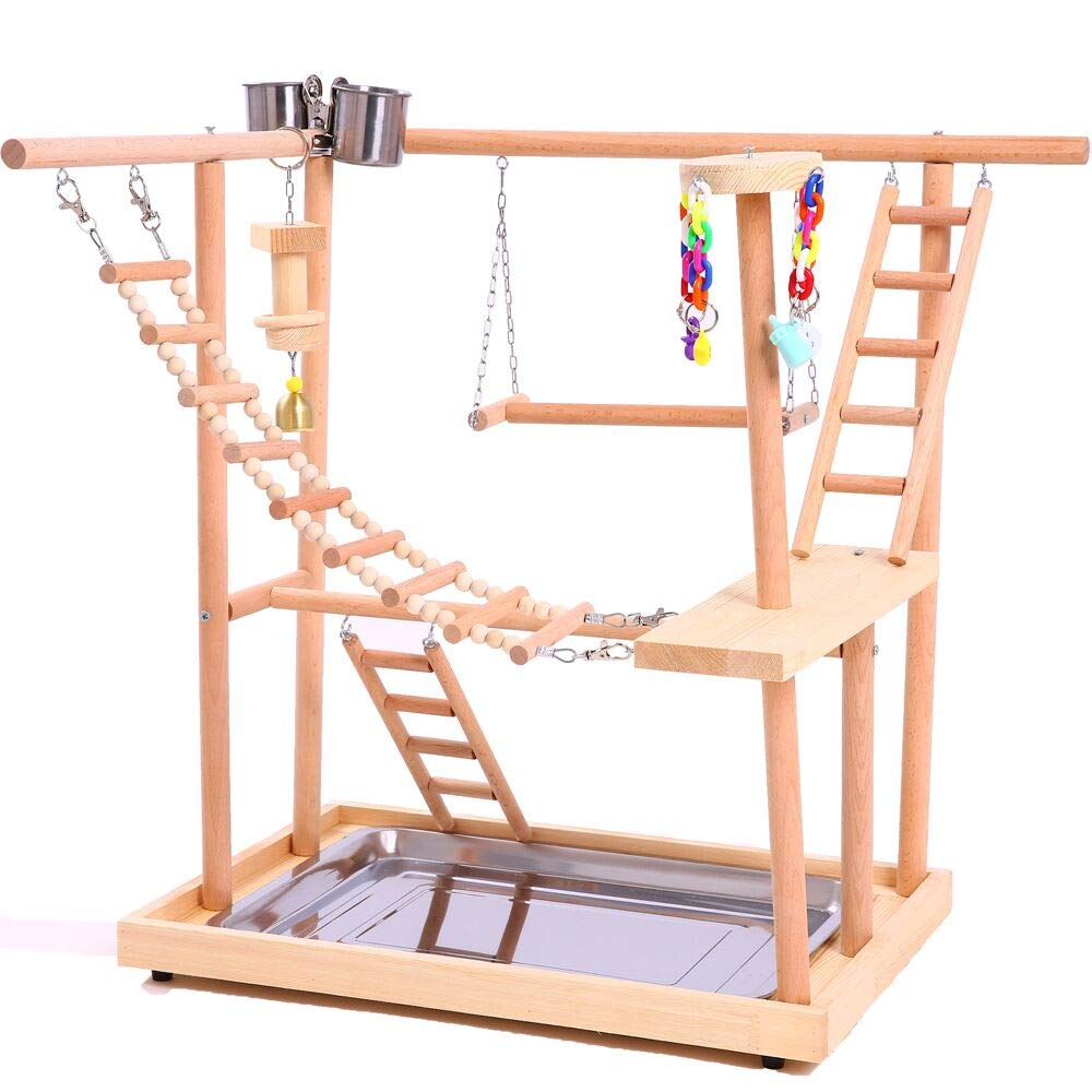 QBLEEV Wood Parrot Playground Perches with Swing,Birds Chewing Climbing Ladder Toys, Bird Training Play Stands Feer Cups for Parakeets Conures Cockatiel Lovebirds (18.7'' L12.8 W20.87 H) by QBLEEV