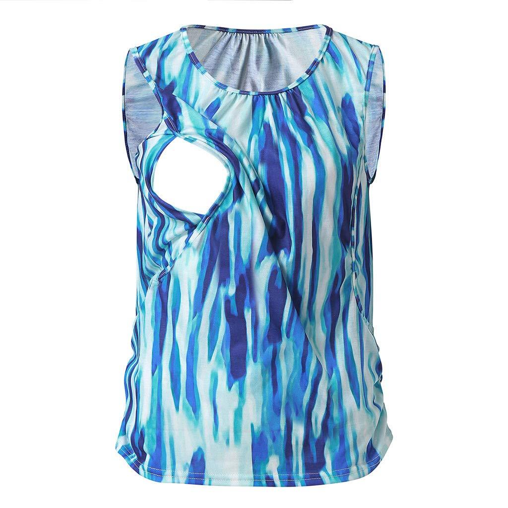 Floral Tops for Women Summer Shirts,Women's Maternity Nursing Tank Top Sleeveless Comfy Breastfeeding Clothes,Sweatshirts,Green,2XL