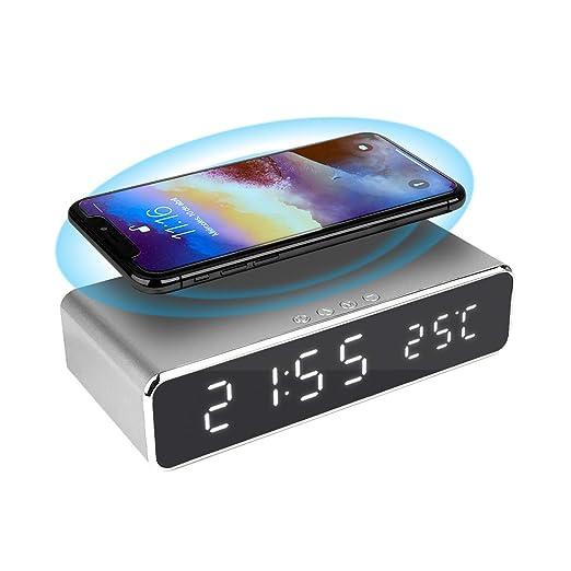 Despertador Digital con Cargador inalámbrico 10w para ...