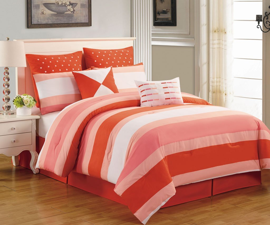 8 Piece Queen Preston Coral and Pink Comforter Set