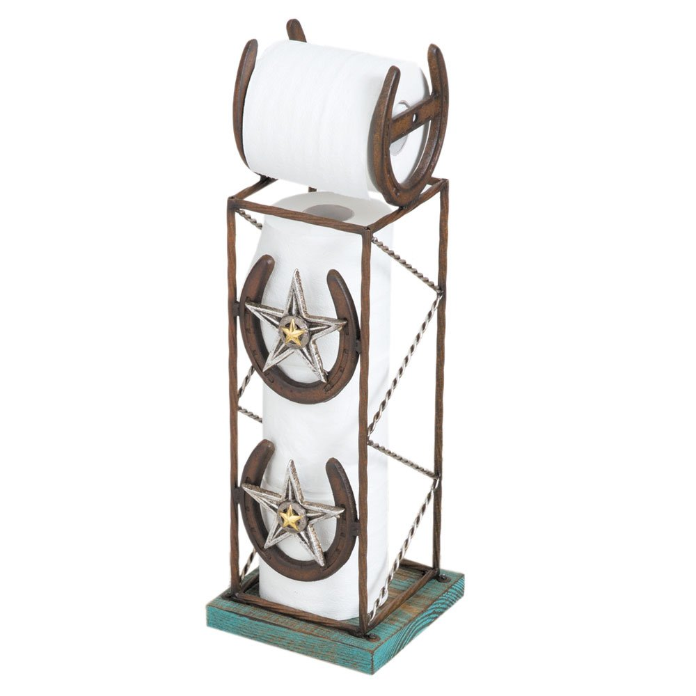Details About Horseshoe Toilet Paper Holder Stand Bathroom Western Star Rustic Decor Gift New
