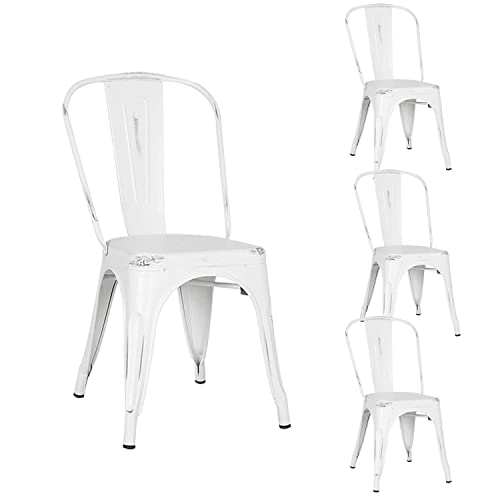 Metal Indoor-Outdoor Chairs Distressed Style Kitchen Dining Chair Stackable Side Chairs with Back Set of 4 Old White Color is Different for Paint Spraying