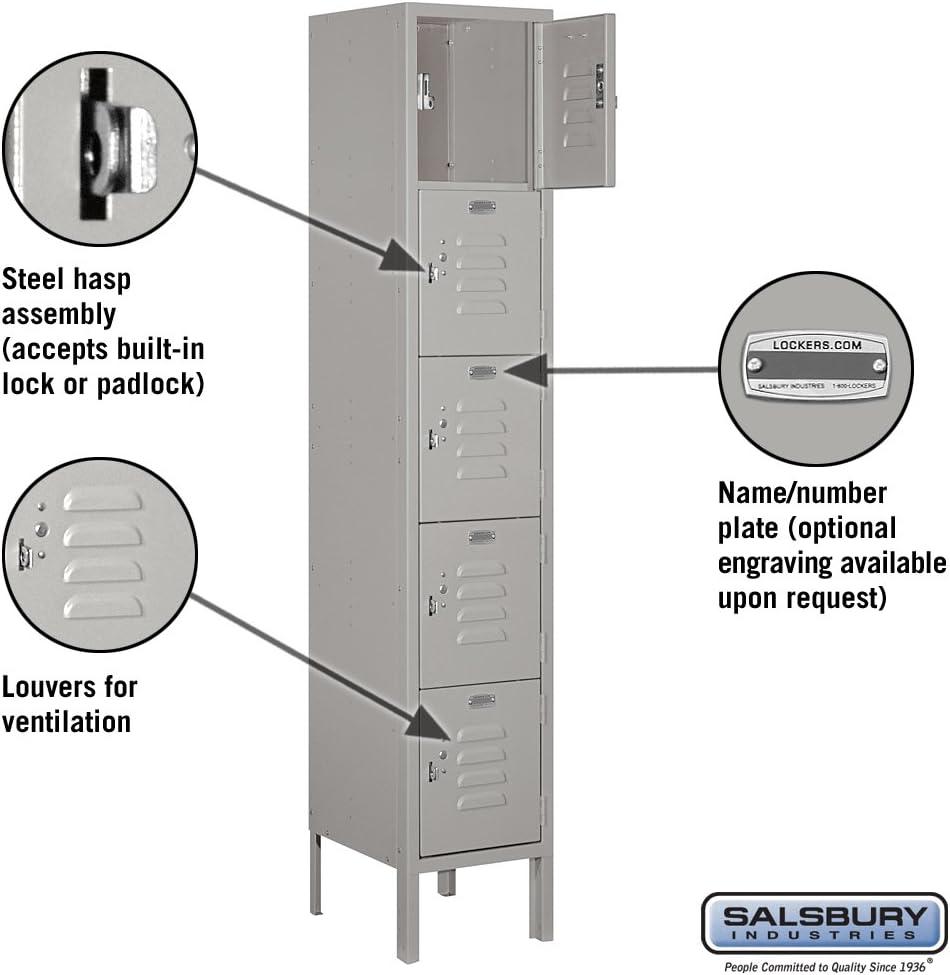 Amazon Com Salsbury Industries 65152gy U Five Tier Box Style 12 Inch Wide 5 Feet High 12 Inch Deep Unassembled Standard Metal Locker Gray Home Improvement