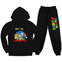 M-ari-o Bro Figures Hoodies and Sweatpants Suit Fashion Tracksuit for Little Kids Sports