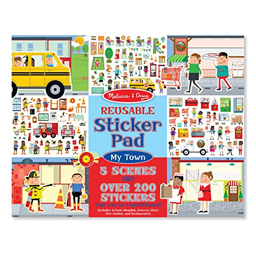 """Melissa & Doug Reusable Sticker Pad - My Town, Extra Large Sticker Activity Pad, Removable Backgrounds, 200 Cling-Style Stickers, 14.05"""" H x 11.05"""" W x 0.2"""" L"""