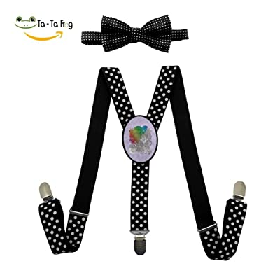 Bo the Elephant Y-Back Suspenders And Pre-Tied Bowtie Set For children Casual And Formal