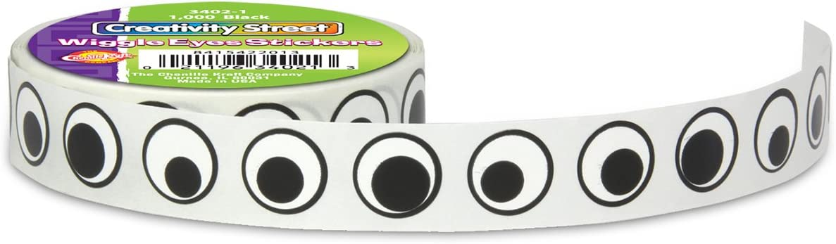 1000//Pack 0.5-Inch Wiggle Eyes Stickers Black
