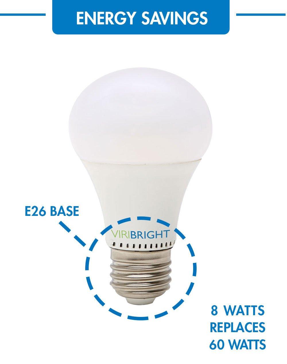LED light Bulb Viribright 60 Watt Replacement A19 Cool White E26 Edison Base 6 pack Dimmable