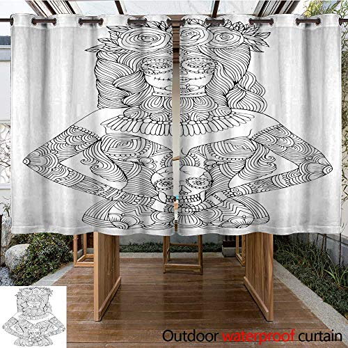 RenteriaDecor Outdoor Ultraviolet Protective Curtains Girl with Calavera Makeup Holding Sugar Skull Halloween Coloring Page W55 x L72