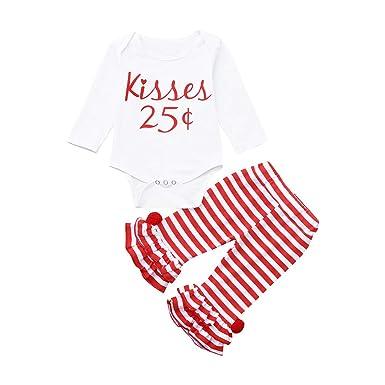 5d5d823edd2 Oldeagle Newborn Infant Baby Girl Kisses Letter Romper Tops Striped Pants  2PCs Baby Valentine Outfits (