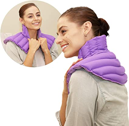 lavender heating pad for neck and shoulder neck wrap microwavable for relief of pain sore muscles stress tension and headaches neck and