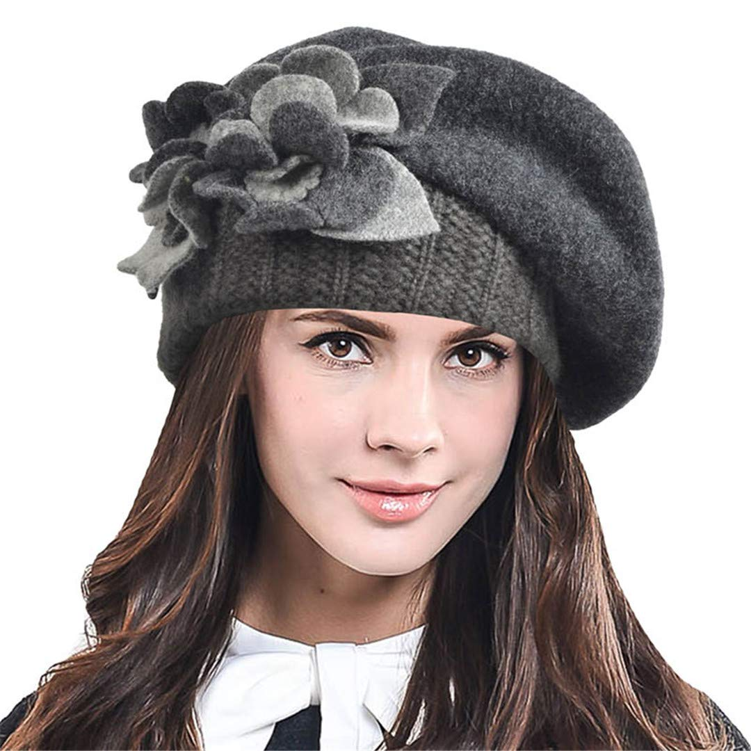 Womens Artist French Beret Hat Lady Elegant Floral 100% Wool Felt Beret Winter Gray