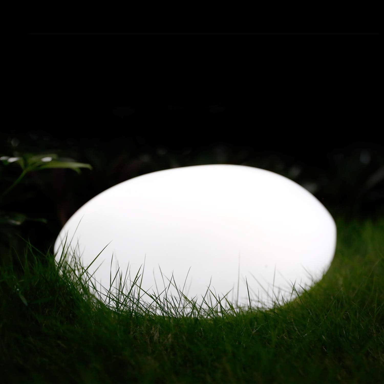 Albrillo RGB Luz Solar de Jardín - Iluminación Exterior LED de Piedra de 40cm, Lámpara Esfera con 8 Colores Ajustables, IP68 Impermeable, Carga por Solar y USB, Luz Solar para Césped, Piscina, Patio