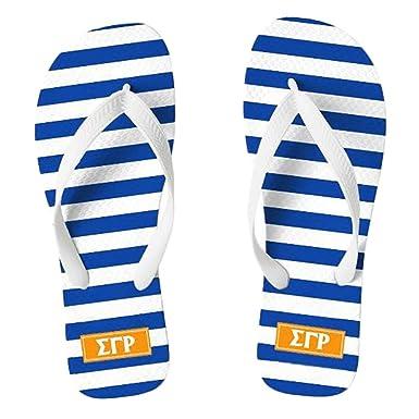 ee2d9f55c882 Greekgear Sigma Gamma Rho Striped Flip Flops Small (6-7.5) Royal Blue