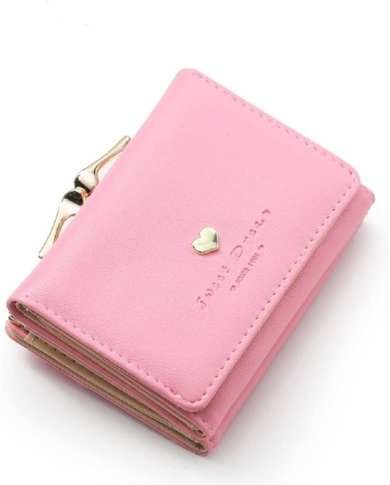 Ladies Short Small Money Purse Wallet Lady PU Leather Tri-fold Coin Card Holder